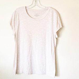Ann Taylor Short Sleeved Polka Dot Tee, Size L